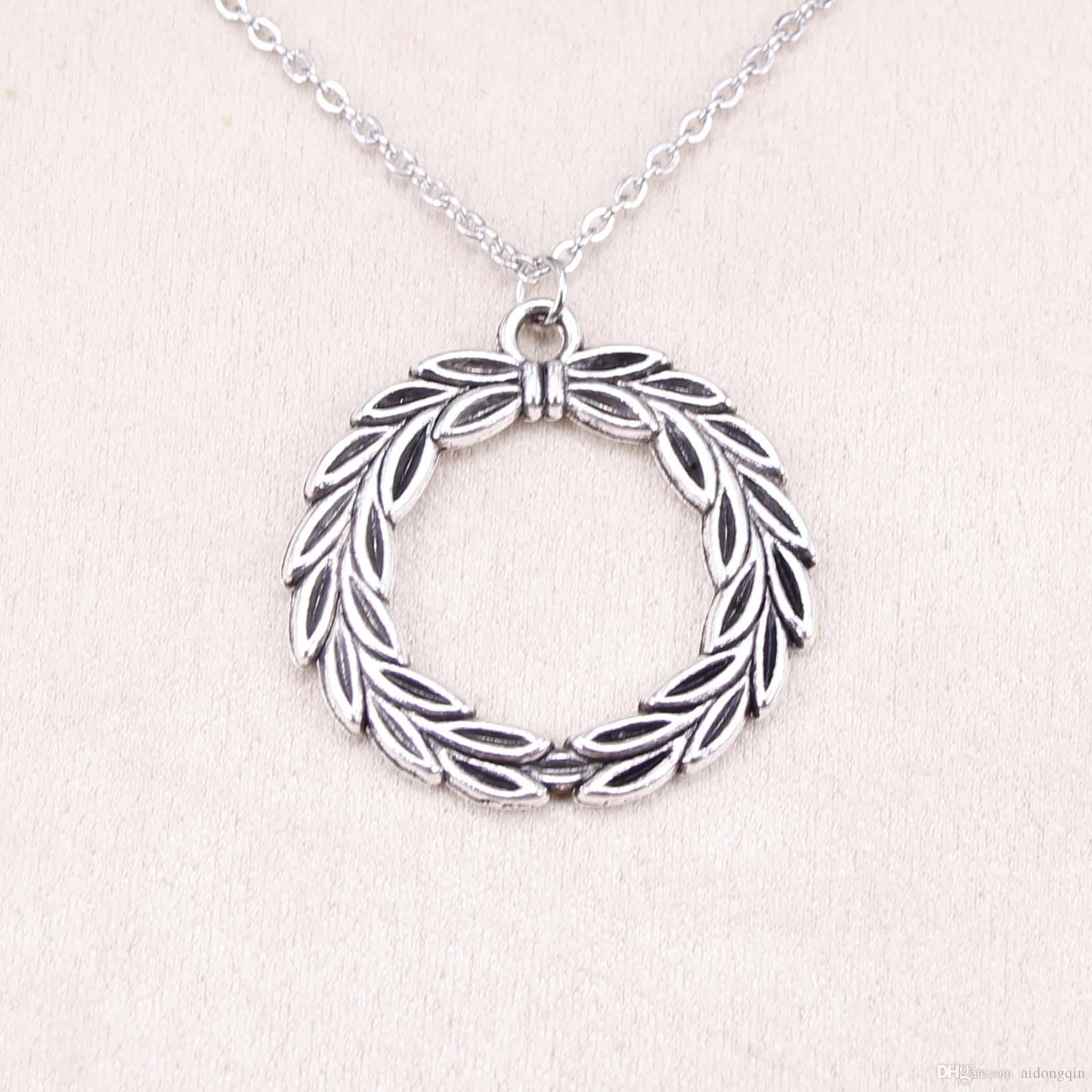 New Fashion Tibetan Silver Pendant olive branch laurel wreath 34mm Choker Charm Short Long DIY Necklace Factory Price Handmade Jewelry