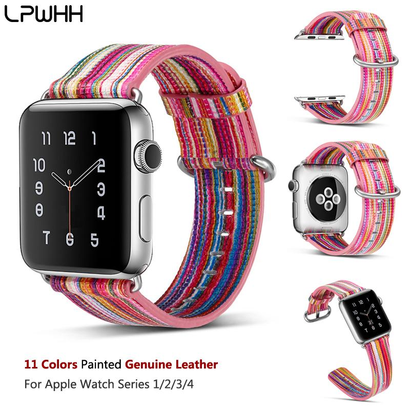 LPWHH Painted Genuine Leather Watchband For Apple Watch Band 40mm 44 Mm Pin  Buckle Durable Strap For Apple Iwatch Ban38 Mm 42mm Online with   28.03 Piece on ... e4dc83e344c