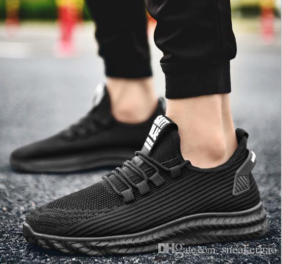 2020 type of breathable flying black gold white sneakers in autumn mens shoes Korean fashion casual shoes running shoes