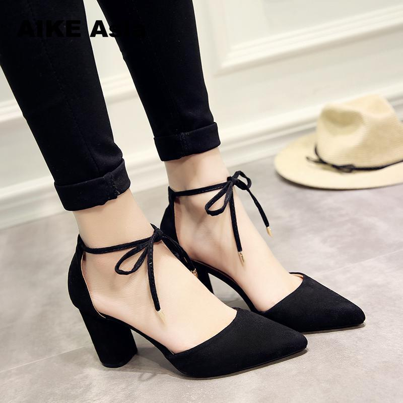 47bface77fa3 2019 Dress 2018 Spring New Women Shoes Basic Style Retro Fashion High Heels Pointed  Toe Office   Career Shallow Footwear Pumps  801 Silver Heels Dress Shoes ...