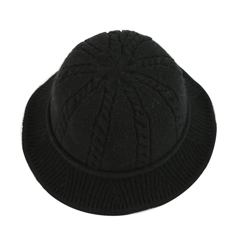 b533bd49a2a4b Winter Solid Color Twist Folding Bucket Sun Hat Women Knitted ...