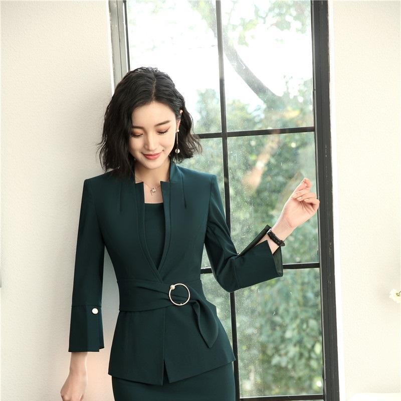 42dda0ff22f804 Acquista 2018 Primavera Autunno Verde Uniforme Uniforme Stili Blazer  Formali Giacche Donna Cappotto Le Signore Abbigliamento Da Lavoro Top  Vestiti Blaser ...