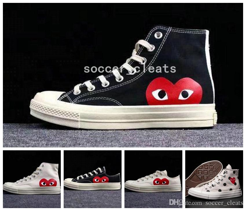 e25bf658a42 2019 2019 New Skate Shoes 1970s Classic Canvas Casual Play Jointly Big Eyes  Name High Top Dot Heart Womens Men Fashion Designer Sneakers 36 45 From ...