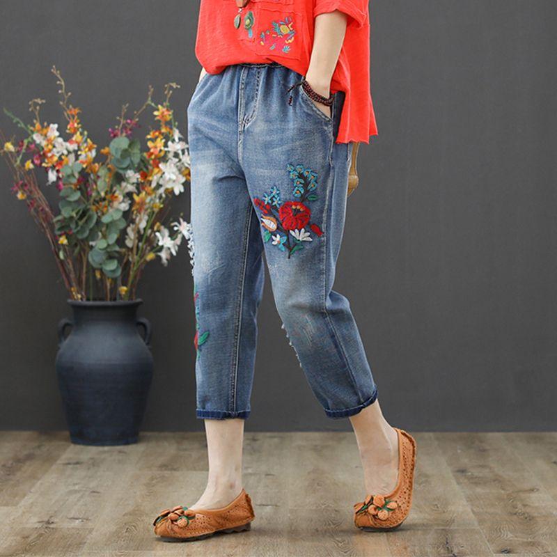 14baca178da Vintage Flower Embroidery Women Casual Elastic Waist Jeans 2019 ...