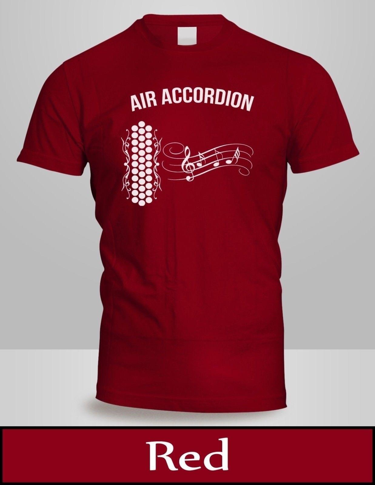 9f66daf1b Compre Air Accordion T Shirt Dos Homens Top Cor Vermelha Tee New Engraçado  Frete Grátis Unisex Top Casual De Countrysidelocks, $12.96 | Pt.Dhgate.Com