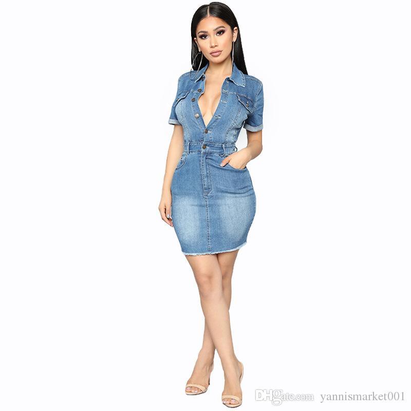 dd56706ae Compre YSMARKET Feminino Roupas Sexy Denim Vestido Fino Quadril Com Bolsos  Único Breasted Jeans Casuais Vestidos De Cowboy Para As Mulheres E18332 De  ...