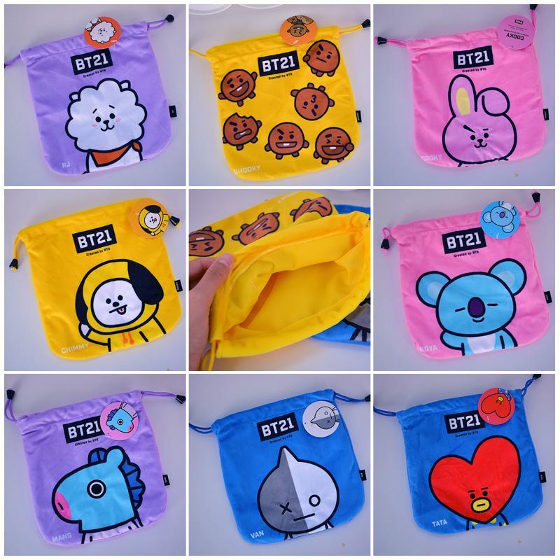 29917a4b0ff 2019 Cool BTS BT21 TATA RJ Cartoon Drawstring Bags Cute Plush Storage  Handbags Makeup Bag Coin Bundle Pocket Purse NEW From Wangbeiche, $29.46 |  DHgate.Com