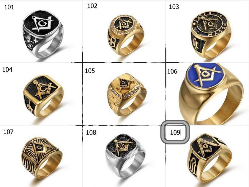 free wholesale men ring Cool Freemason Mens Boys Gold Silver 316L Stainless Steel Free Mason Masonic Ring US Size 7-15