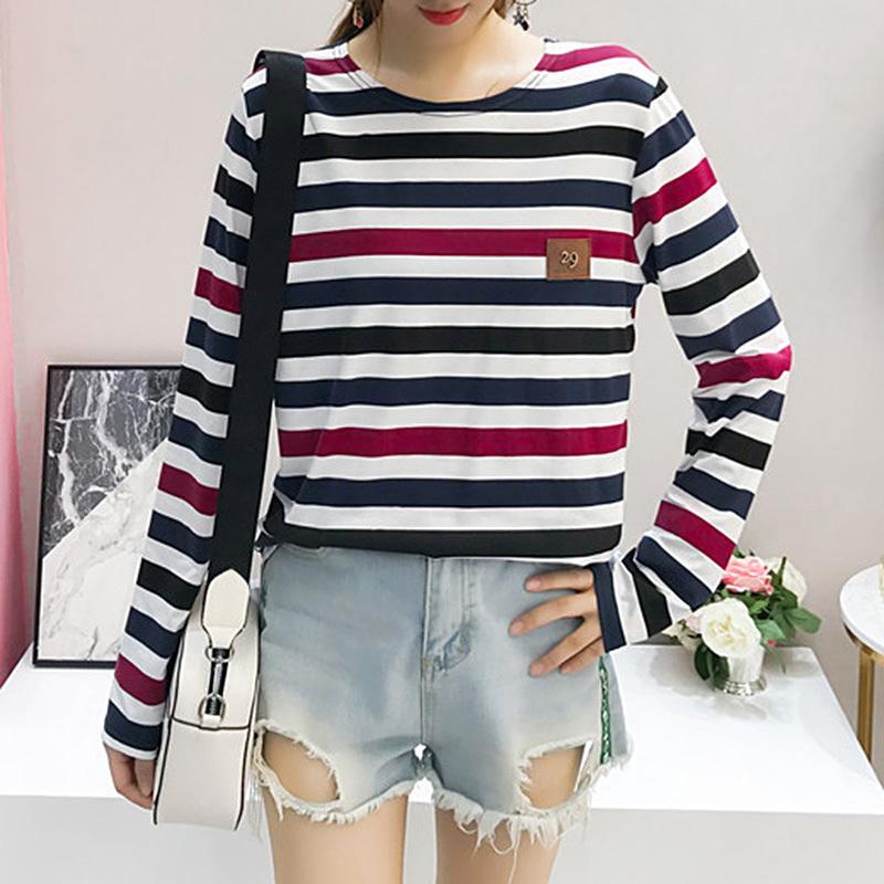 c76f5bcd2c1703 2019 Korean Style Long Sleeve T Shirts Women Hot Sale Student T Shirt Womens  Fashion Harajuku Striped Female Tee Shirt Femme T Shirt Over Shirt Best T  Shirt ...