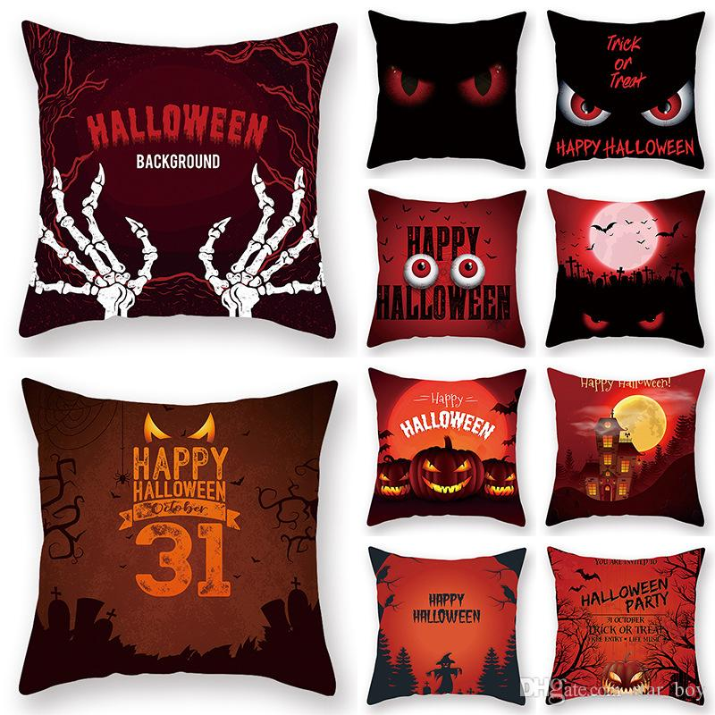 Happy Halloween Skull Pillow Covers Skull Pumpkin Red Eye Scary Night Trick Or Treat Throw Pillow Case Skeleton Cushion Cover