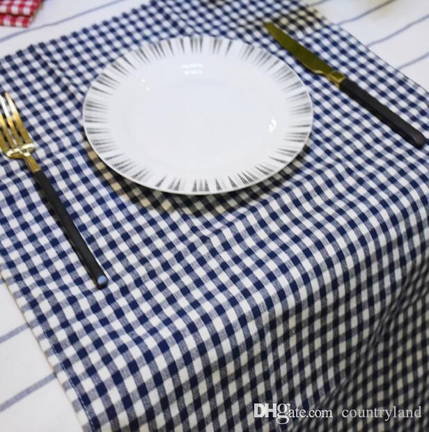 100pcs Cotton Cloth Napkins Plaid placemat cm Home Restaurant Cafe Table Napkin Wedding Table Kitchen Tea Towels SL7074 20180920#