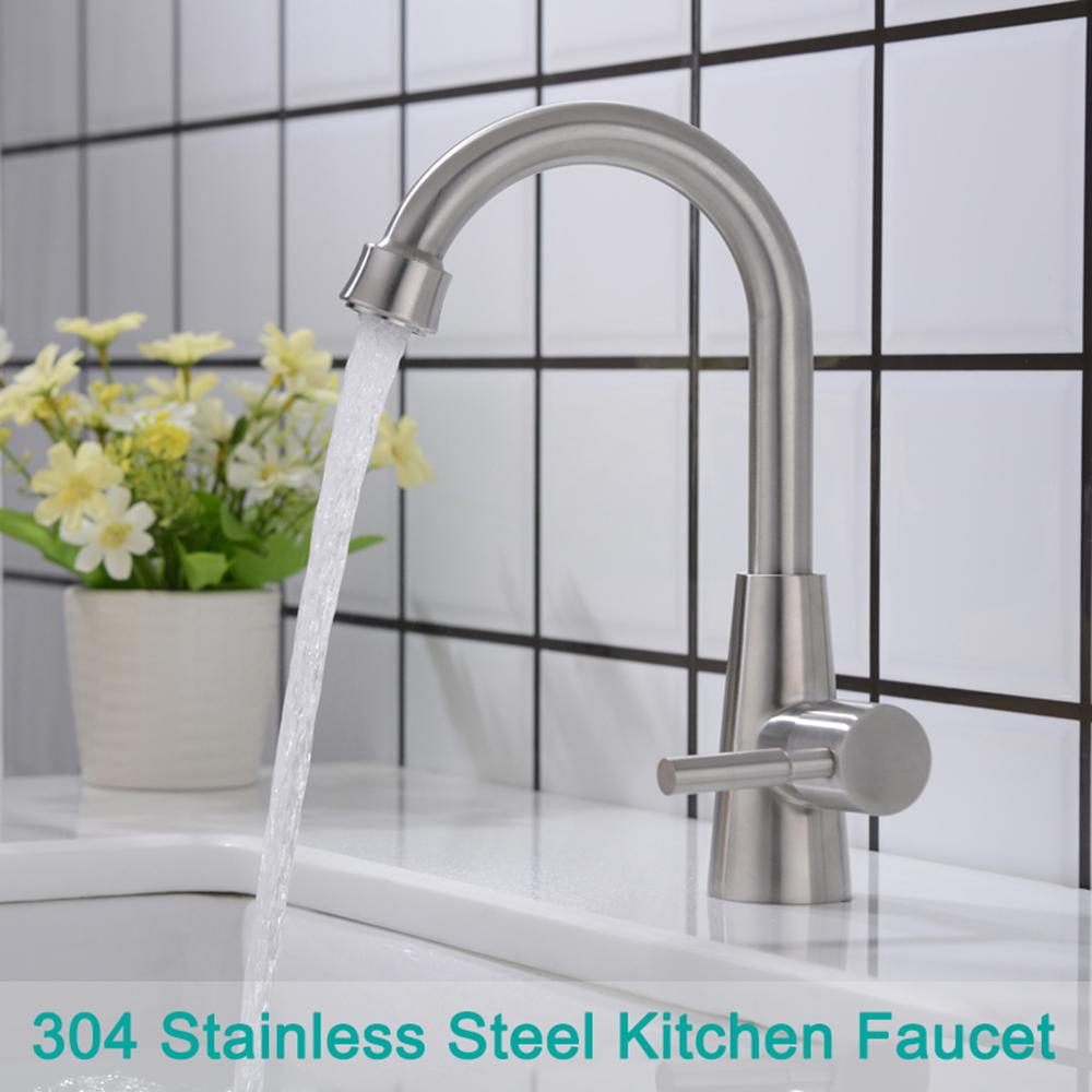 Stainless steel kitchen faucet lead single sink faucet vertical drawing
