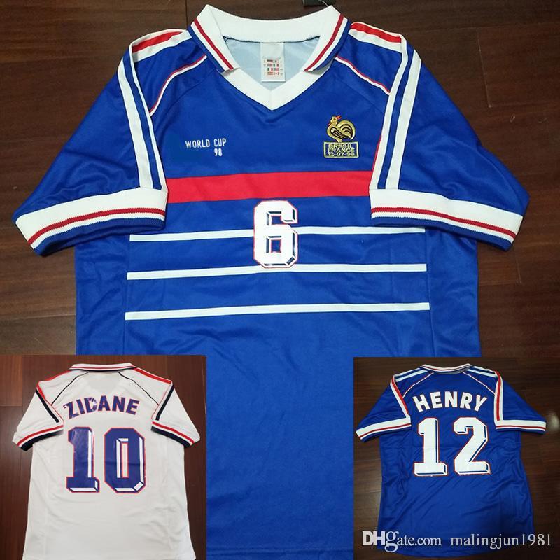 timeless design f0f4f 2bb10 98 Retro Soccer Jerseys Zidane Trezeguet Maillot FRaNCe Djorkaeff Henry  Deschamps 1998 Classic Shirts Vintage Kits football Shirt Maillot