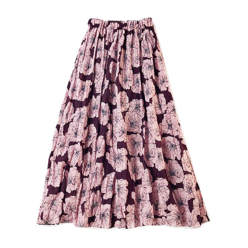 0eabd945f 2018 otoño coreano de cintura alta una línea de falda plisada midi mujeres  elegante vintage imprimir falda larga falda del banquete de boda femenina