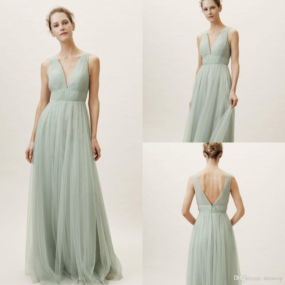 103c94a1407 2019 BHLDN Bridesmaid Dresses V Neck Tulle Sleeveless Floor Length Mint  Green Formal Occasion Dress Cheap Evening Gowns Yellow Bridesmaids Dresses  ...