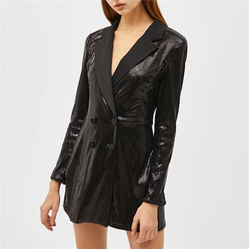 45383a2d12ab Women Style Chic Sequined Black Playsuits Notched Collar Long Sleeve ...