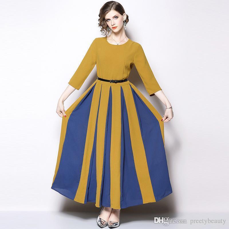 6bd3c389b17 Compre Vestido Largo Maxi Para Mujer Vestidos Para Banquetes De Fiesta Vestido  De Cinturón Delgado Cuello Redondo Manga Larga Amarillo Rayas Coloridos ...
