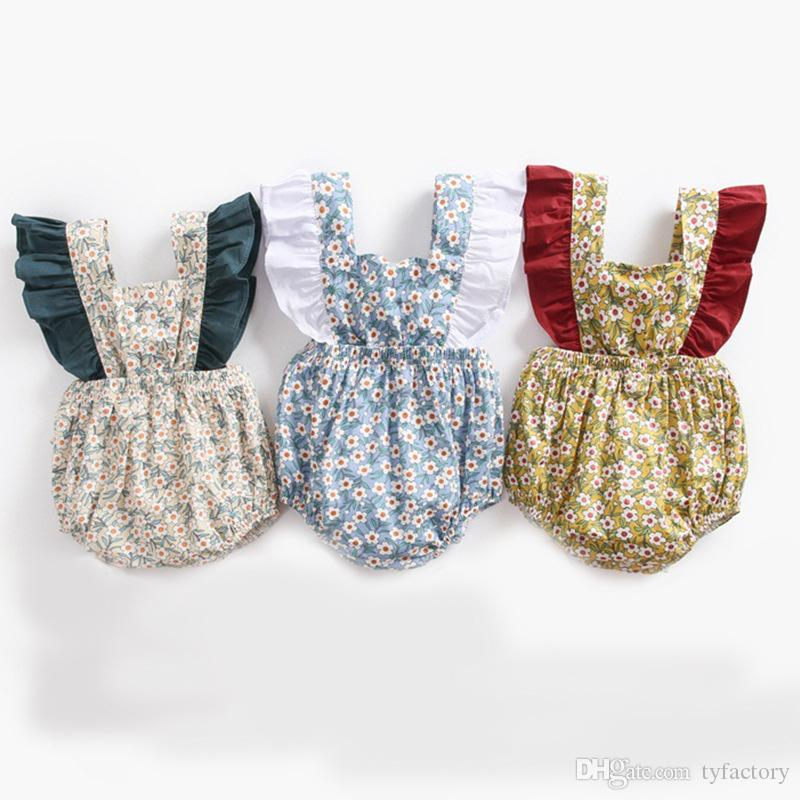 a019e2cbc Summer Baby Girl Floral Romper Flying Sleeve Clothing Three Colors ...