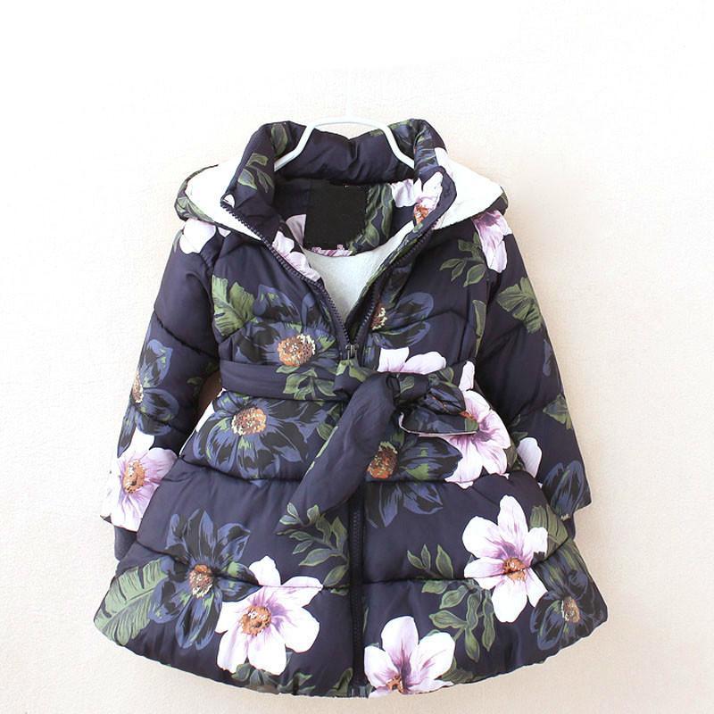2d55faf62f54 Hot Winter Baby Girl Coats 2018 Sale Kids Floral Printed Parka ...