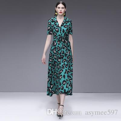 368b42c75c 2019 Fashion Beach and Vacation Dresses of Women,Nice Printed Long Skirts  Lady and Girl's,Short Sleeve Lapel Neck Leisure Dress