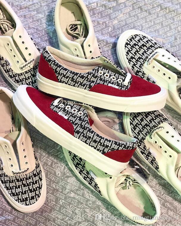 2018 New Fear Of God X PacSun Era 97 Reissue Canvas Shoes Men Women Running  Casual Shoes Red White Sport Sneaker 35 44 Mens Loafers Buy Shoes Online  From ... 7e3be242d