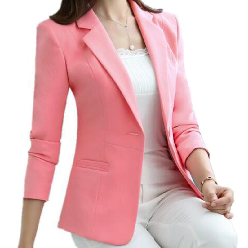 c22aa150c0ea Compre 4XL 5XL Único Botão Branco Blazer Feminino Casual Casaco Fino Moda  Breve Breve Blazer Femme OL Confortável Casaco ZY4162 De Bidalina, ...