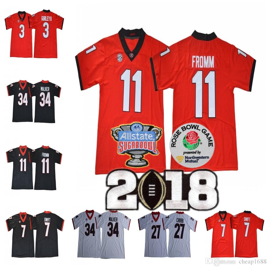 the best attitude 04cfb feb87 UGA Georgia Bulldogs 11 Jake Fromm 3 Roquan Smith 10 Eason 34 Herchel  Walker Red White 2018 NCAA Rose Bowl Championship Sugar Jersey
