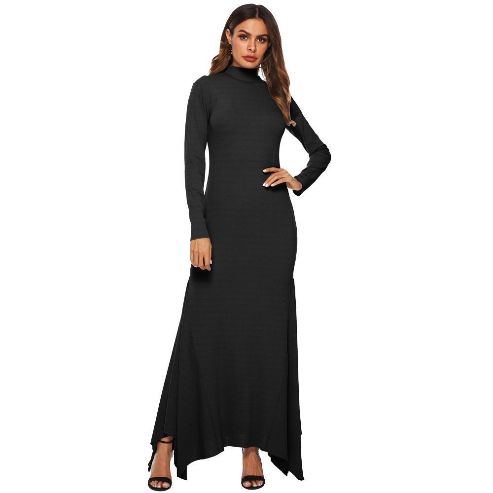4025dcc34d2a Women Long Maxi Dresses Bohemia Turtleneck Women Casual Long Sleeve Ankle  Length Dress SheathParty Dress Sundress Female Womens Black Dress Evening  Dresses ...