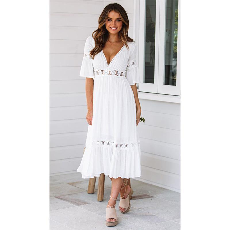 quality design 5f34c 286bc Vestito da spiaggia lungo abito tunica con maniche lunghe in pizzo bianco  con maniche lunghe e abito estivo da donna in stile estivo ordinario 2019