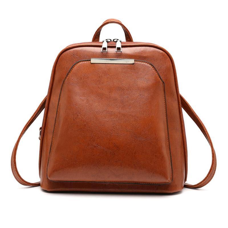 Punctual Fashion Vintage Women Bag Backpacks Brown Schoolbags Casual Travel Softback Leather Shoulder Bag School Supplies Backpacks Backpacks