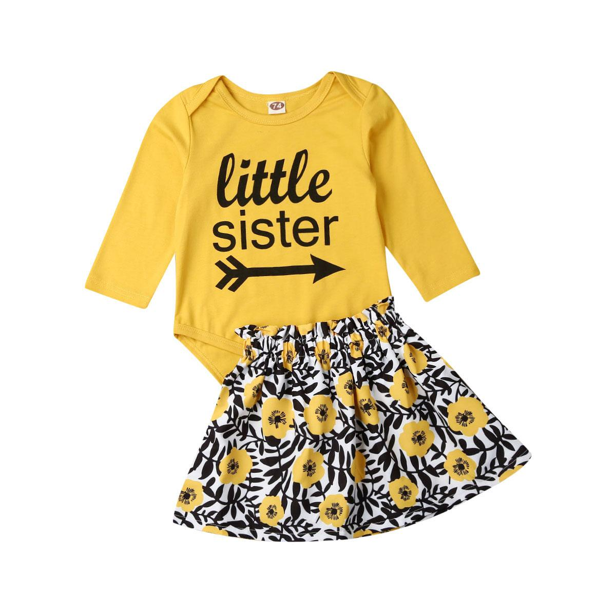 0-24M Newborn Baby Girl Clothes Little Sister Romper Tops Littl Floral Dress Outfits 2Pcs Autumn Baby Clothig Set