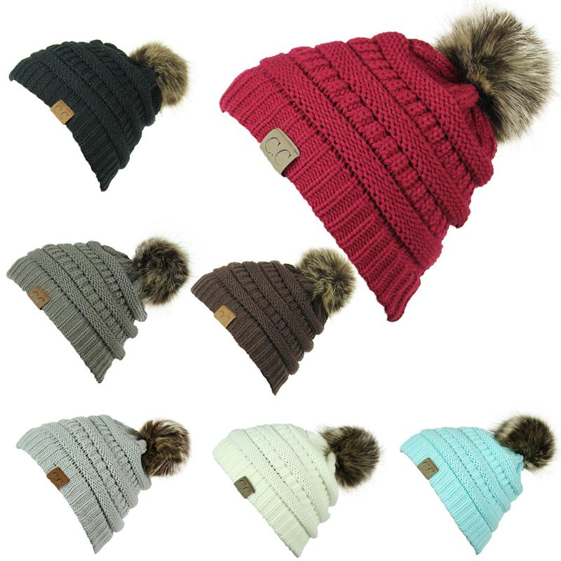 852e8e4ff8f7e Woman Winter Hat Beanie CC Faux Fur Pom Pom Ball For Hats Knitted ...