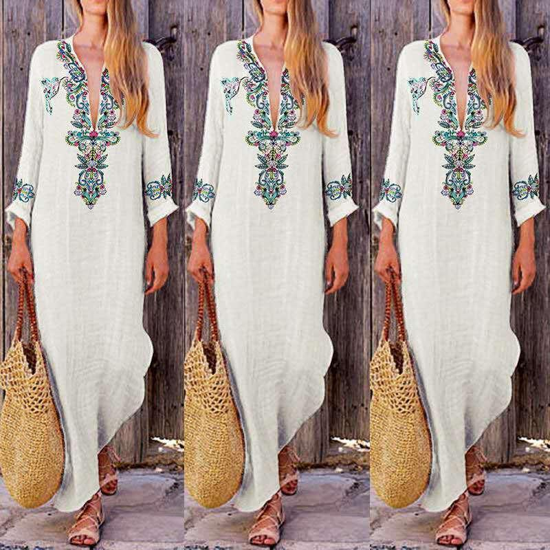 77c1d216dc Amazon women s Europe and the United States cotton and linen dress  long-sleeved cotton and linen national wind of autumn new fund printed dr
