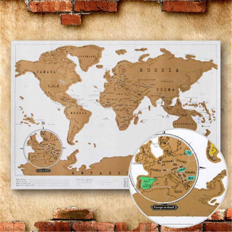 Yellow Scratch OFF MAP Travel Scratch Map 88x52 Cm World Map Novelty on