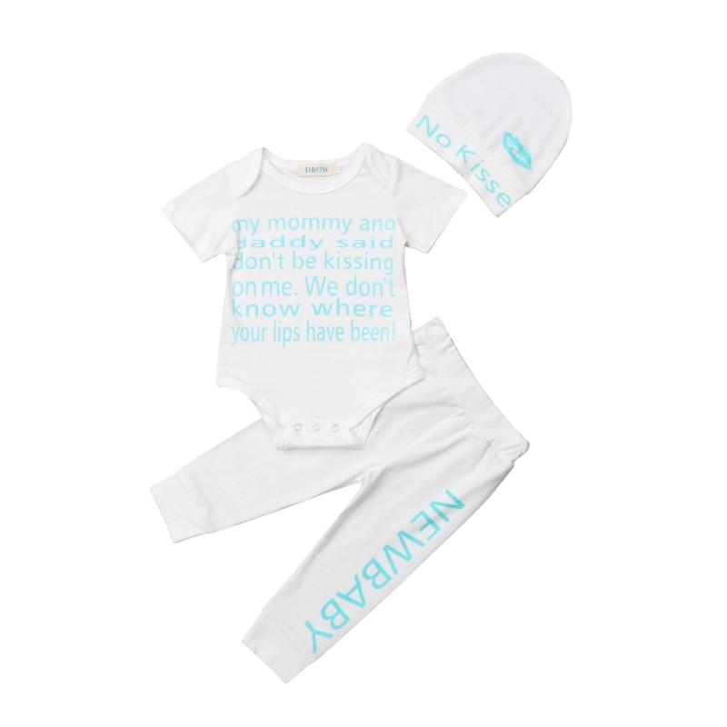 340976159df 2019 Newborn Infant Baby Boys Casual Letter Tops And Cotton Long Pants And  Hat Outfits Clothes Simple From Rainbowny