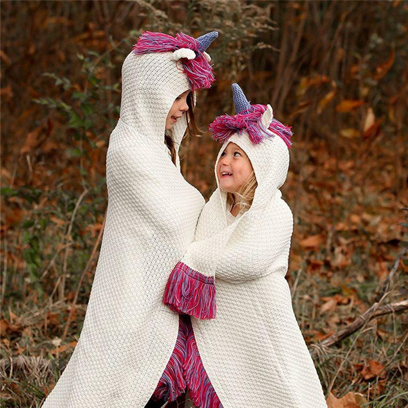 Fashion Hot Mädchen Kapuze Trech Kids Einhorn Mit Baby Mantel Pullover Mode Decke Kinder Outwear Quasten Gestrickte XiZkOPu
