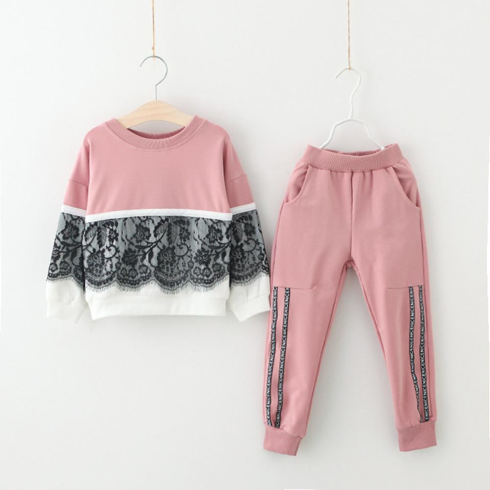 Baby Girls Clothes Toddler Kids Baby Girl Lace Pullover Sweatshirt Tops+Pants Outfits Clothes Set vetement enfant fille