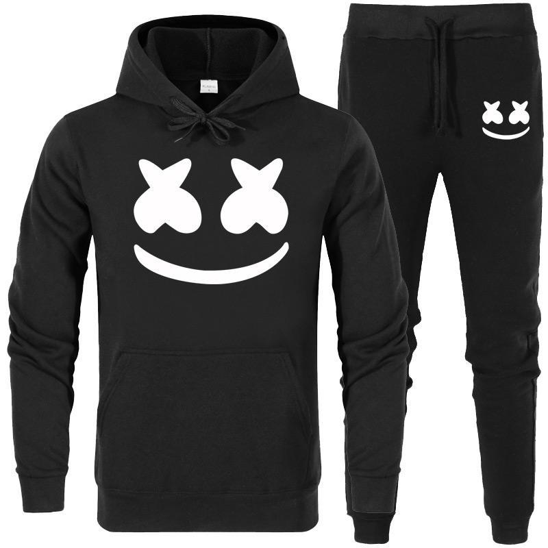 5102ad9796ea3 Acheter Nouveau 2019 Marque Nouveau Mode Marshmello Visage Hommes  Sportswear Imprimer Hommes Hoodies Pull Hip Hop Survêtement Survêtement Sweats  Vêtements ...