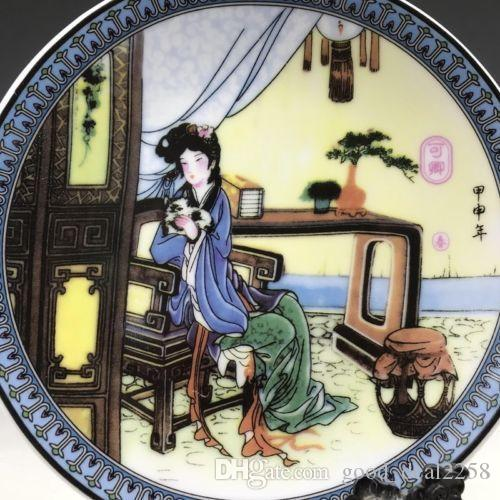 Chinese ancient ceramic plate pure handmade painting of women. x14