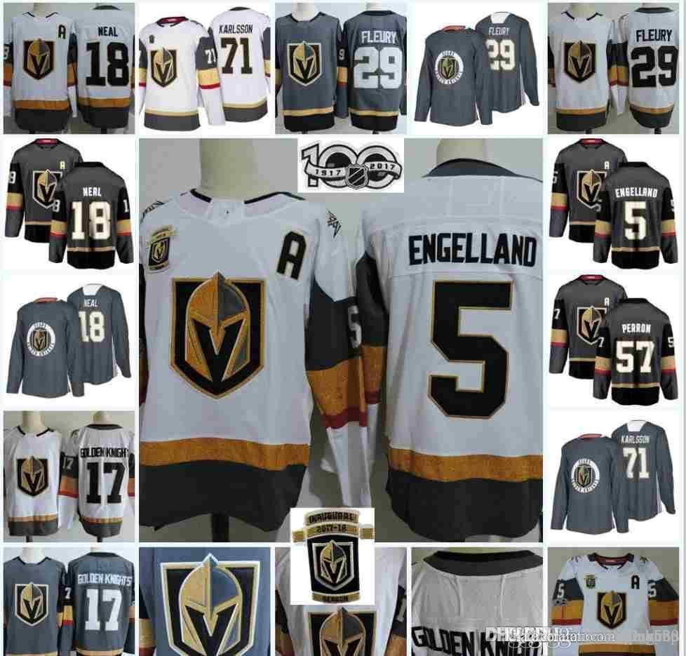 cheap for discount 6d201 dcae4 2018new Vegas Golden Knights Stanley Cup final patch 100th men Hockey  Jersey Marc-Andre Fleury James Neal jersey Erik Haula William Karlsson