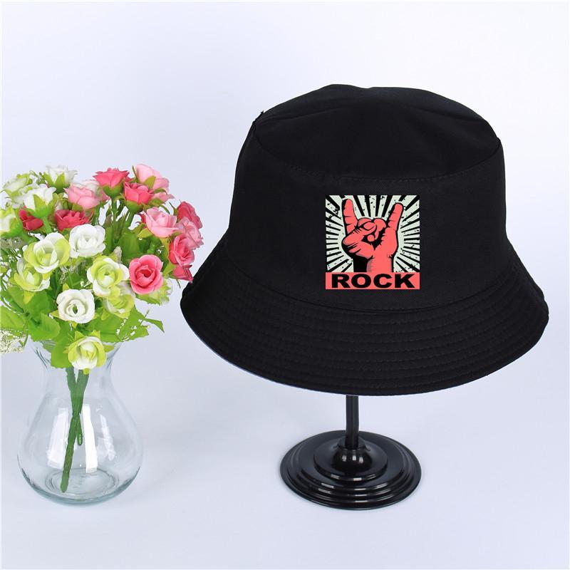 ROCK Logo Summer Hat Women Mens Panama Bucket Hat ROCK Logo Design Flat Sun  Visor Fishing Fisherman Hat UK 2019 From Menceng1986 be769ef35cb9