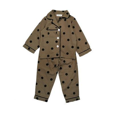 e40a6995e31e WLG Boys Girls Pajamas Kids Spring Autumn Dot Single Breasted Pajamas Baby  Casual Beige Coffee Clothes 2 6 Years Kids Pajama Cheap Pajamas For Kids  From ...