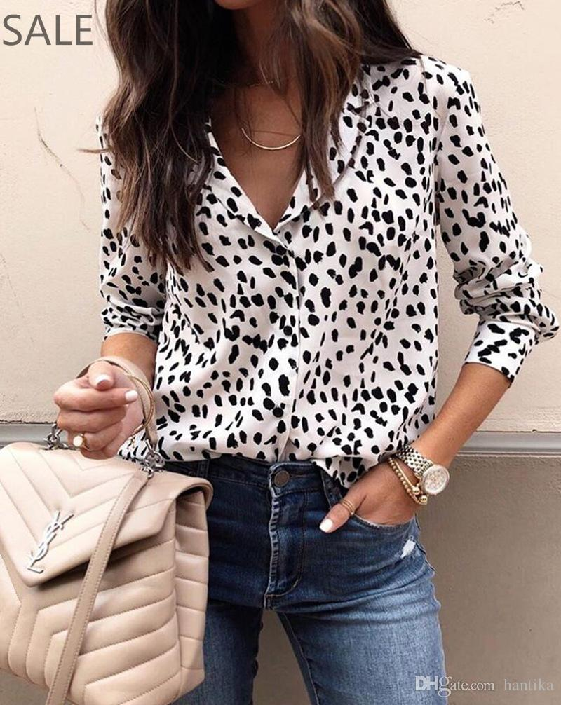 b9bb456ecfe57d Female Blouse Long Sleeve Leopard Printed Fashion Polyester Fabric V Neck  Sexy Hot Style Buttons Shirts For Ladies UK 2019 From Hantika, GBP £8.54 |  DHgate ...