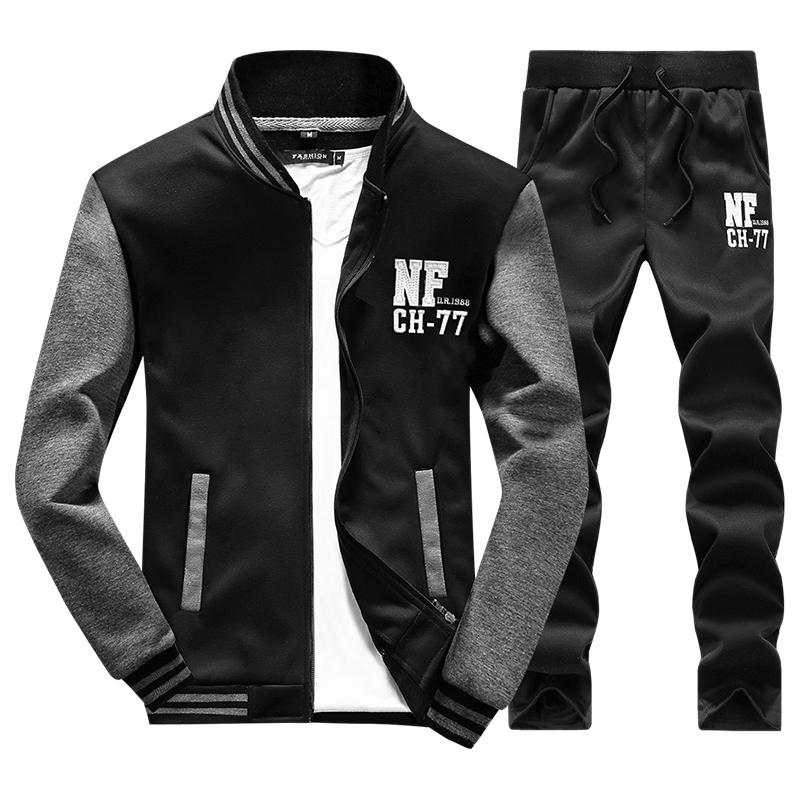 2017 Men Hoodies Print NF Sets Men High Quality Sweatshirt Hombre Tracksuit Hoodie+Pants Size M-4XL