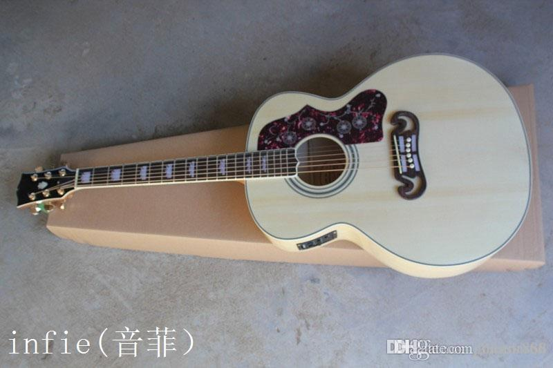 Custom Shop New Arrival Dot Spruce Beige SJ200 6 Strings Electric Acoustic Guitar With Fisherman Pickups Free Shipping