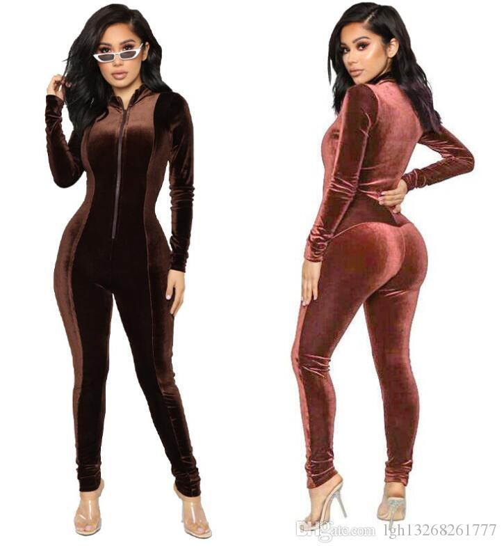 6f16a998d734 2019 Autumn Winter Velvet Long Bodycon Jumpsuit Women Sexy Elegant Brown  Pink Long Sleeve Suit Women Fashion Rompers Bodysuit 2019 From  Lgh13268261777
