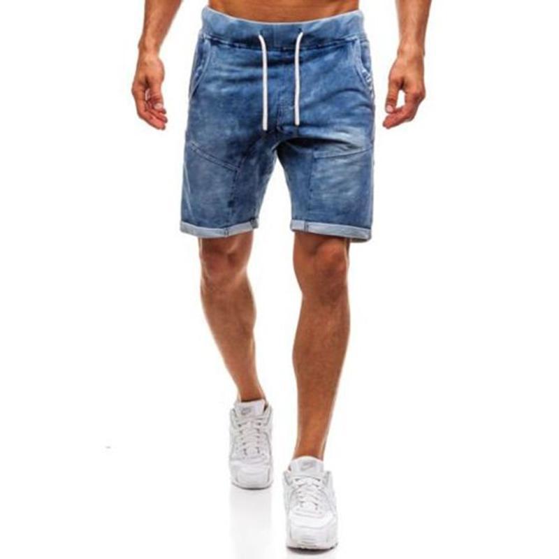 a basso prezzo 4fcbc 38886 Pantaloncini in denim da uomo strappati lunghi estivi, pantaloncini di  jeans a foro corto, lunghezza regolare, per jeans maschili