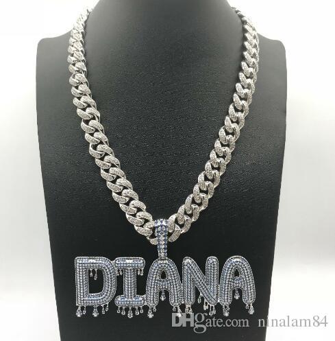 9f7361f3429b Joyas personalizadas Hielo nombre Cadena burbuja goteo corona letra colgante  joyería de hip hop
