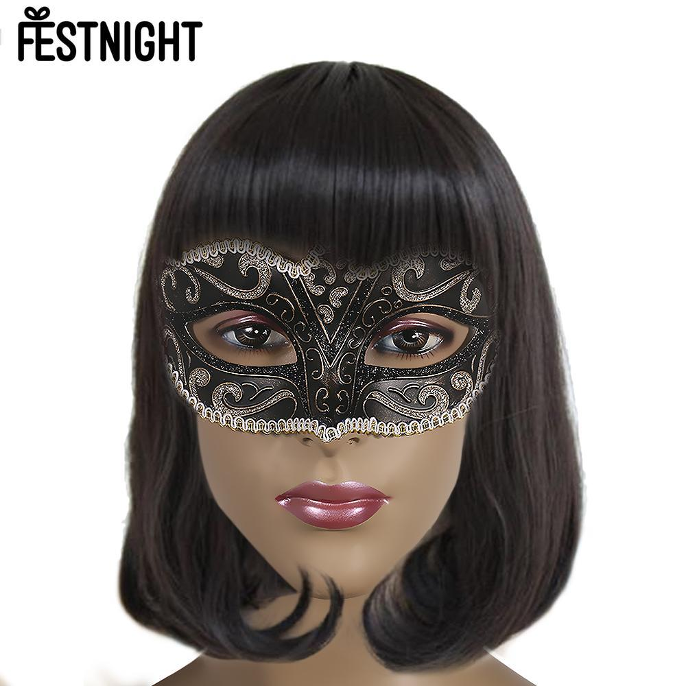 FESTNIGHT 5pcs Halloween Mask White  Sexy Plastic Half Mask Halloween Masquerade Ball with Glitter Lace Decoration