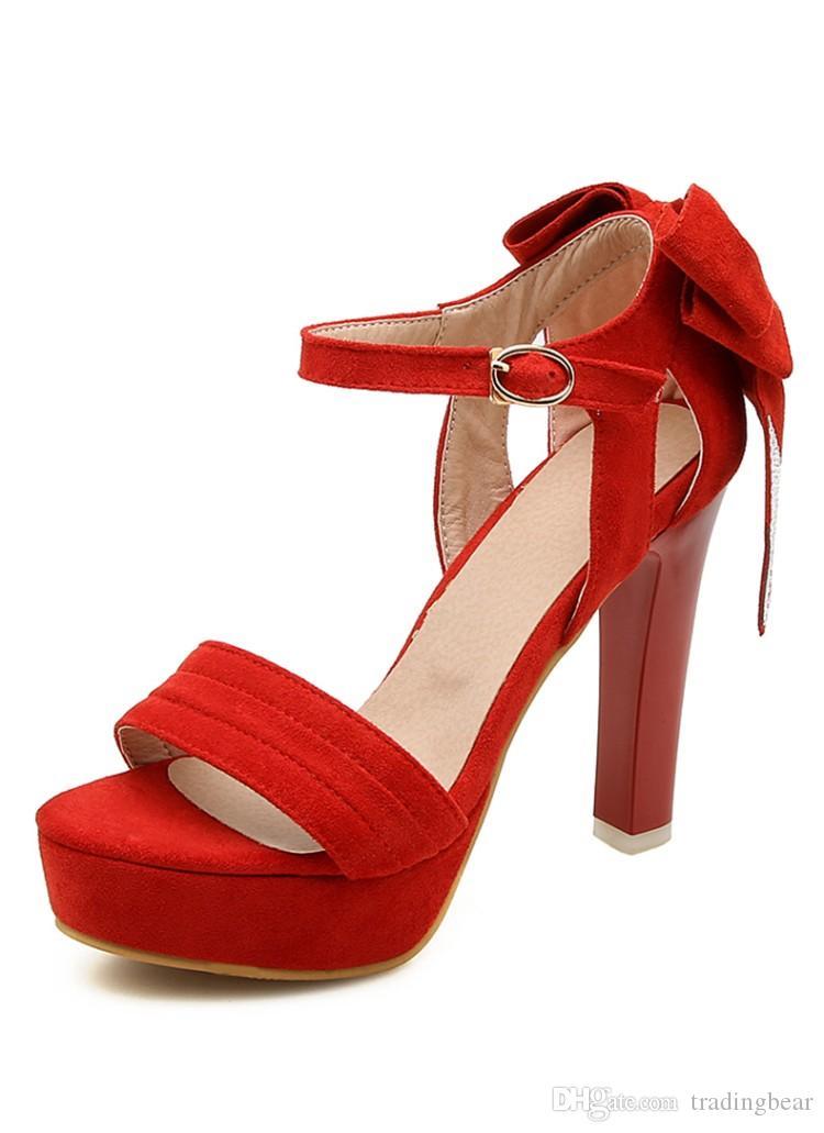 Plus la taille 31 32 33 à 40 41 42 43 chaussures de mariage mariée rouge noeud papillon strass designer talons hauts femmes chaussures habillées